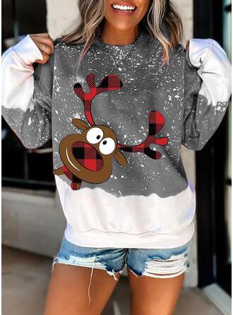 Dyr Grid rund hals Lange ærmer Jule sweatshirt