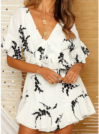 Print 1/2 Sleeves/Flare Sleeves A-line Above Knee Casual Dresses