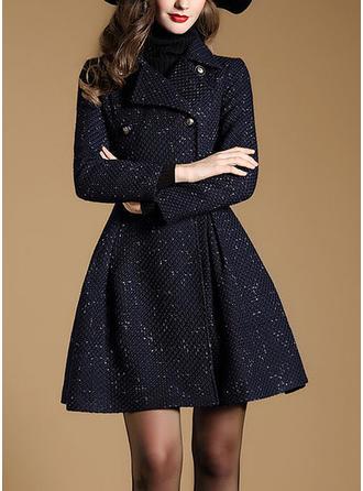 Bawełna Długie rękawy Jednolity kolor Slim Fit Płaszcze