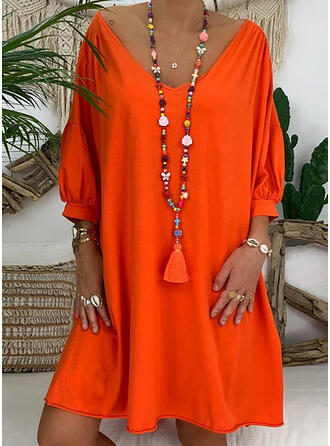 Solid 3/4 Sleeves/Lantern Sleeve Shift Knee Length Casual Dresses