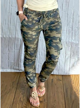 Καμουφλάζ Μακρύς Ανέμελος Plus μέγεθος Pocket Σύρσιμο Παντελόνι