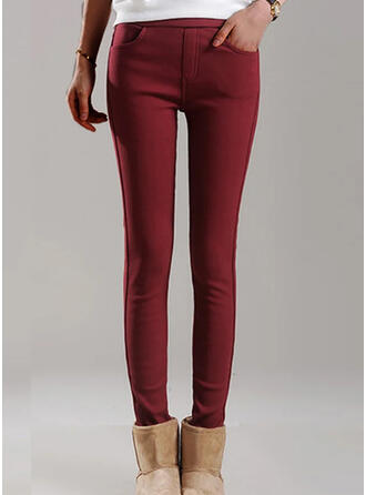 Solid Cropped Plus Size Office/Business Pocket Pants