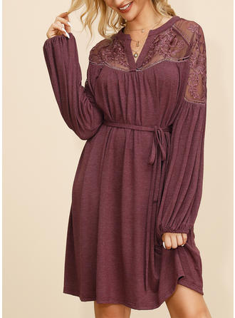 Lace/Solid Long Sleeves A-line Knee Length Casual/Elegant Dresses