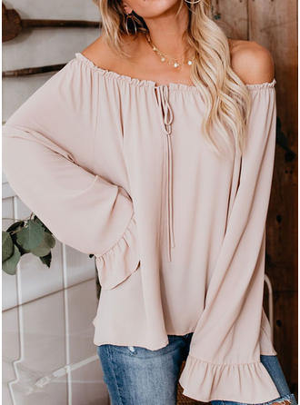 Solid Off-shoulder Lange ærmer Casual Bluser