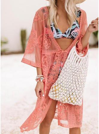 Einfarbig Gittergewebe V-Ausschnitt Sexy Attraktiv Strandmode Bademode