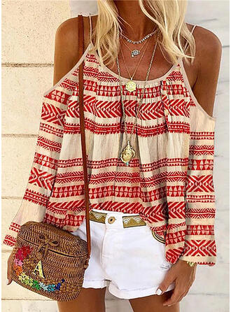 Print Striped Cold Shoulder Long Sleeves Casual Blouses