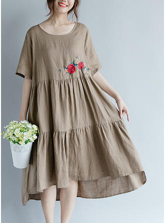 Embroidery 1/2 Sleeves Shift Midi Casual Dresses