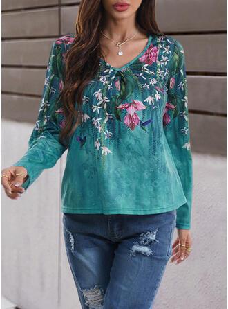Floral Print Animal V-Neck Long Sleeves T-shirts