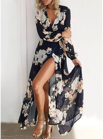Print/Floral Long Sleeves A-line Maxi Casual/Vacation Dresses