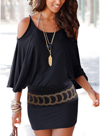 Print Long Sleeves/Cold Shoulder Sleeve Bodycon Above Knee Casual Dresses