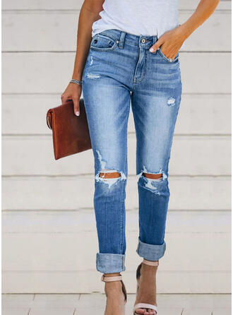arricciato Strappata Lungo Elegante Sexy Denim & Jeans