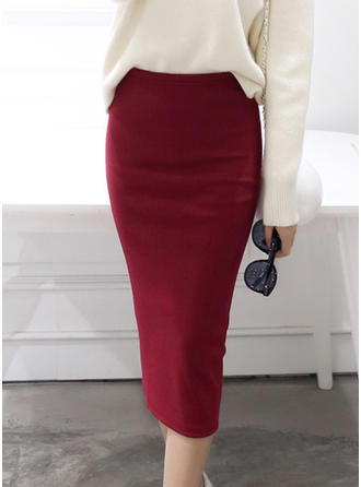 Cotton Plain Knee Length Bodycon Skirts