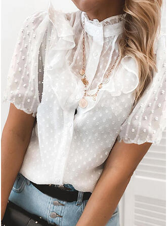 Solid Stand collar Short Sleeves Casual Elegant Blouses