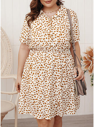 Print Short Sleeves A-line Knee Length Casual/Elegant/Plus Size Dresses