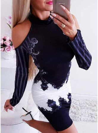 Print/Color Block/Striped Long Sleeves/Cold Shoulder Sleeve Bodycon Knee Length Casual/Elegant Dresses