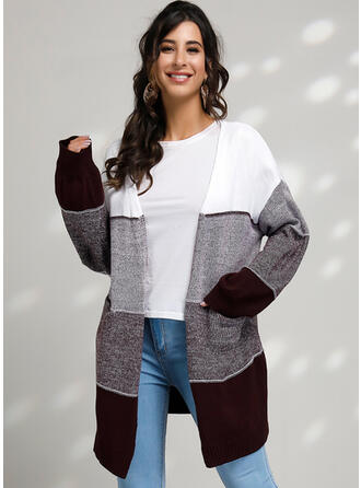 Color block Kabel-strik Chunky strik Cardigan