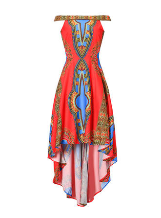 Wydrukować Dekolt typu Carmen Asymetryczny Sukienka Trapezowa
