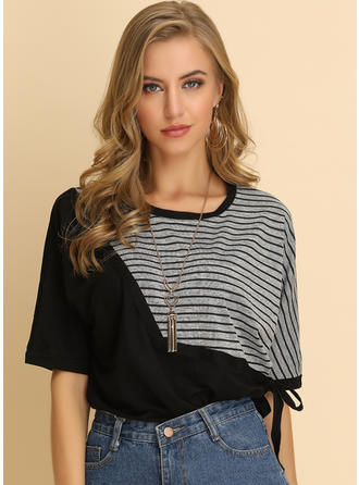Striped Round Neck 1/2 Sleeves Casual Blouses