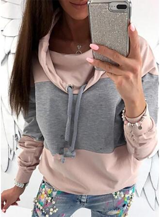 Color Block høj hals Lange ærmer Sweatshirts
