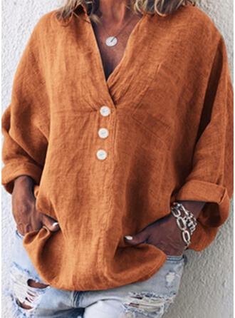 Einfarbig V-Ausschnitt Lange Ärmel T-Shirts