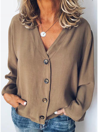 Solid V neck Long Sleeves Button Up Shirt Blouses