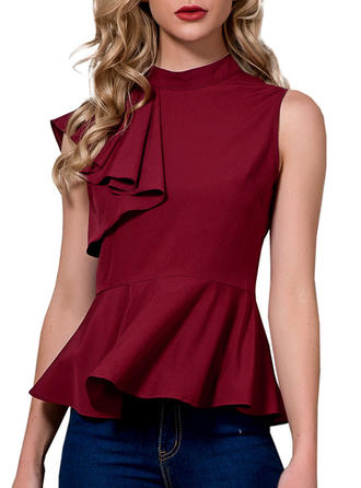 Polyester Stand-up Collar Plain Sleeveless Casual Blouses