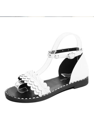 Women's Leatherette Flat Heel Sandals Flats Peep Toe With Beading Rivet shoes
