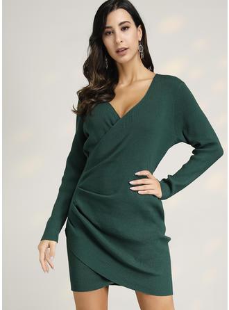 Solid V-neck Tröja klänning