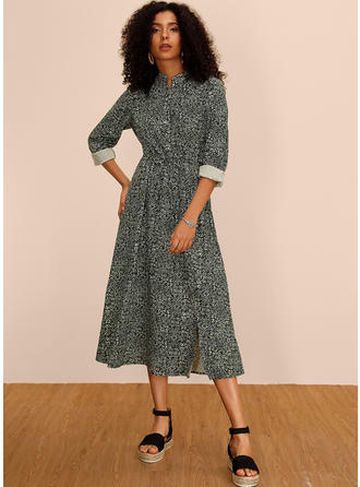 Print Long Sleeves A-line Midi Casual Dresses