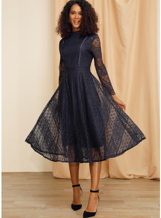 Lace/Solid Long Sleeves A-line Midi Casual/Party/Elegant Dresses