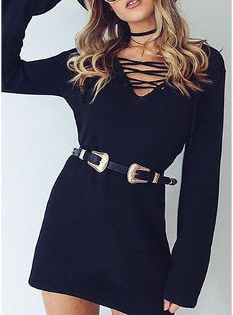 Solidny Długie rękawy Koktajlowa Nad kolanem Swetry Sukienki