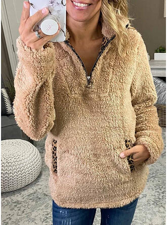 Leopard Lommer Lapel Lange ærmer Sweatshirts