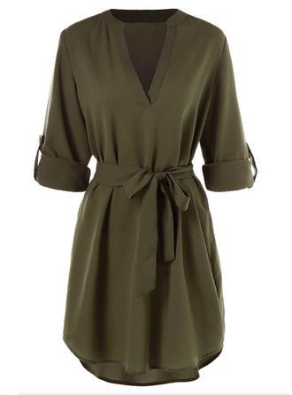 Solid V-neck Above Knee A-line Dress