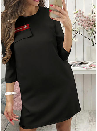 3/4 Sleeves Shift Above Knee Casual Dresses