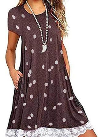 Lace/PolkaDot Short Sleeves Shift Above Knee Casual Dresses