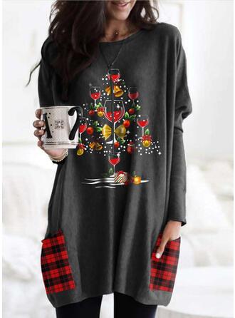 Nyomtatás rács Kulatý Výstřih Dlouhé rukávy Vánoční mikina