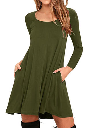 Cotton With Stitching/Solid Mini Dress