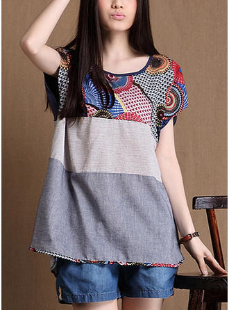 Cotton Round Neck Print Short Sleeves Casual Blouses