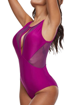 Solid Color U-Neck Sexy One-piece Swimsuits