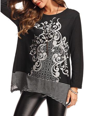 Bawełna Okrągły Dekolt Graficzny Swetry