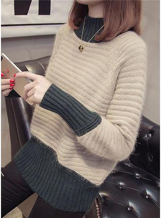 Bawełna Stań kołnierz Blok Kolorów Swetry