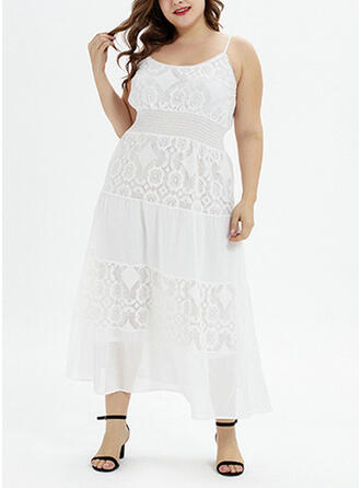 Lace/Solid Sleeveless A-line Vacation/Plus Size Midi Dresses