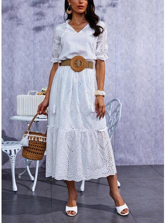 固体 1/2袖 シフトドレス カジュアル マキシ ドレス
