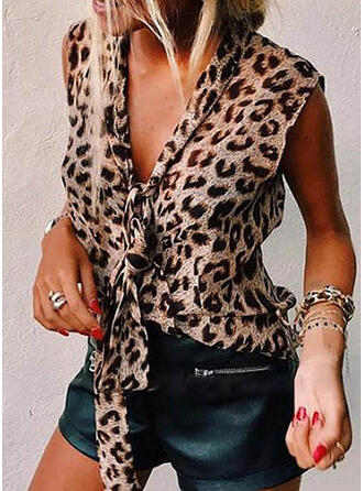 Leopard V-Neck Sleeveless Casual Elegant Tank Tops