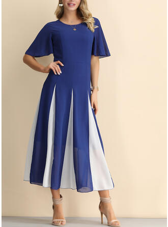 Color-block Short Sleeves A-line Midi Party/Elegant Dresses