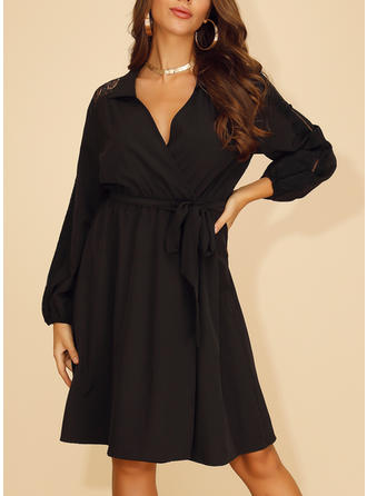 Lace/Solid Long Sleeves A-line Knee Length Little Black/Casual Dresses
