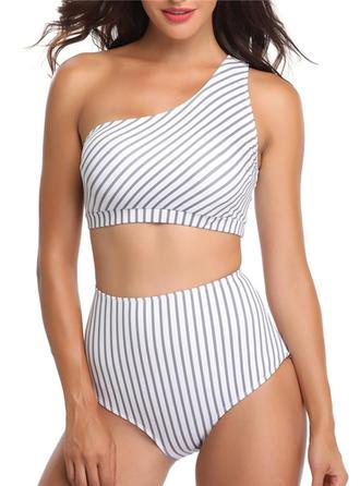 Rayures Une Épaule Sexy Grande taille Bikinis Maillots De Bain