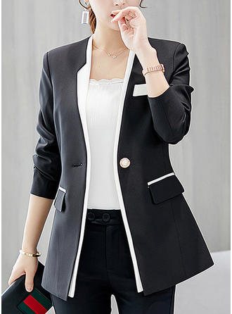 Polyester 3/4 Sleeves Plain Blazers