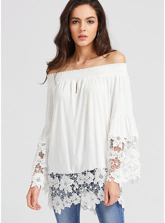 Cotton Off the Shoulder Plain Long Sleeves Ruffle Blouses