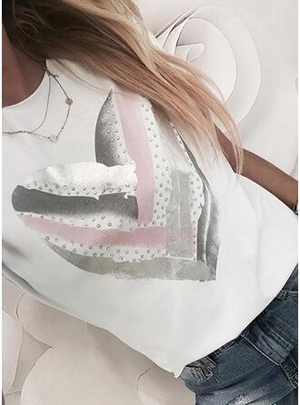 Corazón Impresión Lentejuelas Cuello Redondo Manga Corta Camisetas